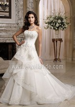 Unique Strapless Beaded Ruffles Tiers Floor-length Bling Ball Gown Wedding Dresses 2016 Bridal Dress A66