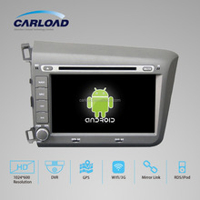 Android 2 din touch screen car dvd for civic 2012 left with GPS, iPOD, TV, RDS, Wifi, 3G, mirror functions