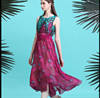 Wholesale New 2015 Women Chiffon Summer Sleeveless O-Neck Printed Floral Wrap Dresses Maxi Party Gown