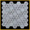 Bianco Carrara White marble floor tiles art decor cutting hexagon mosaic style