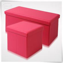 Multifunctional PU leather pink storage bench wholesale