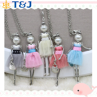 2015 Lace Dress Dolls Jewelry For Girls Colorful Doll Pendent Necklace