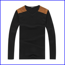 Fashion style blank new model men's t-shirt for long sleeve v-neck t-shirt