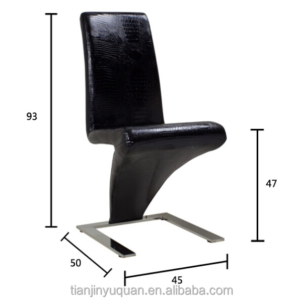 European style z shaped genuine black crocodile leather for Z shaped dining room chairs
