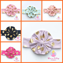 Girls Baby infant elastic cotton headbands, ribbon bow flower headbands, gold polka dot hairband