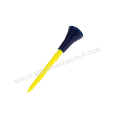 Yellow color plastic golf tee with blue rubber top, drive golf tee