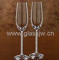 5.5oz Glass Champagne Flute With Decorative Stem