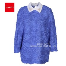 Cut and Sew Knitted Fabric Special Pattern Sewing Pearls Collar Women Pullover Sweater