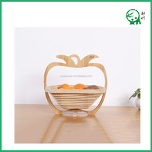 Fruit Storage,Hanging Natural Bamboo Apple Shape Folding Fruit Basket