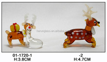 bright brown glass deer with long antler for christmas ornament