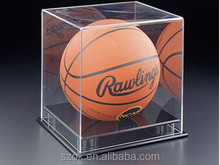 luxury design transparent acrylic basketball display box with black bottom for retail shop wholesale
