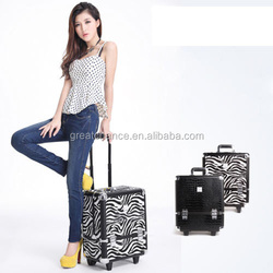 Professional Aluminum Makeup Case PU Aluminum Trolley Cosmetic Case Makeup Bag