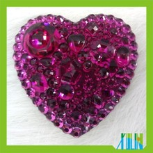 Flat black heart shape resin stone accessories for garment