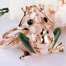 2015 full of diamond crystal alloy frog keychain