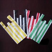 CHEAP HDPE HIGH QUALITY STRIPE T-SHIRT BAGS/ SHOPPING BAGS