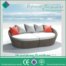 Round rattan 8cm cushion outdoor day beds double sofa day bed FWY-005