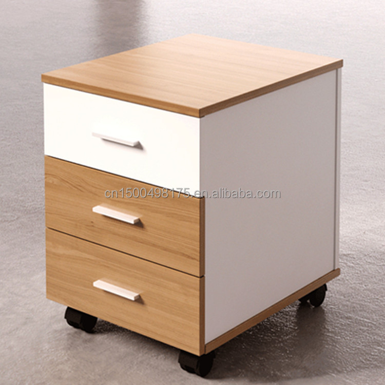 bureau en bois 3 tiroirs classeur avec diviseurs de. Black Bedroom Furniture Sets. Home Design Ideas