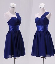 Charming Wedding One-shoulder Bridesmaid Short Dress DH21003