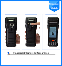 Android 4 inch 3G touch screen barcode scanner pos printer/terminal with fingerprint reader support EMV