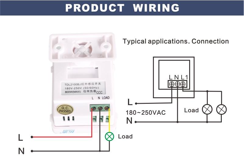 Tdl 2100bj 220v bathroom motion sensor switch with wall mounted pir g g 2100bjg aloadofball Choice Image