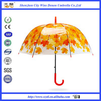 High quality transparent straight umbrella fashion clear POE/PVC cover transparent umbrella with fantstic printing