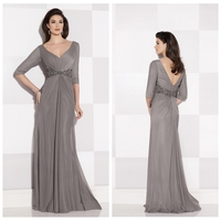 fancy designer long sleeve chiffon decent evening dress patterns