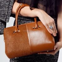 2015 Qiwang newest arrived women bag fashion with the horse fur/100% genuine leather for women Free Shipping