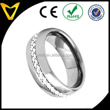 2015 Fashion Wholesale Tungsten Ring Wedding Band,Tungsten Carbide Band Braid 925 Silver Inlay Dome Shiny Top Men's Wedding Ring