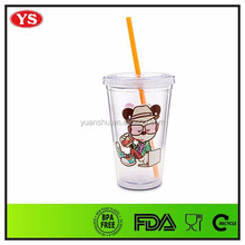 Kids 12 oz plastic clear adventure cup with straw
