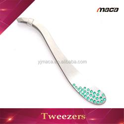 TW1277 hot sale stainless steel beauty eyebrow curved diamond tweezers