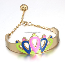 Latest Designs Stainless Steel Enamel Bangle Women Gold Bracelet 18k For 2015