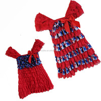 2015 wholesale baby lace dress patriotic blue star sation ruffle boutique lace dress for girls