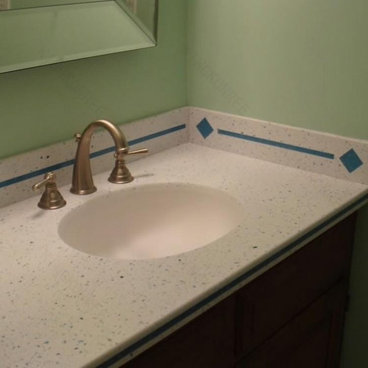 Custom made quartz pierre salle de bains vanity top for Comptoir de salle de bain