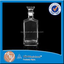 750 ml hot sale square glass whisky bottles with lids