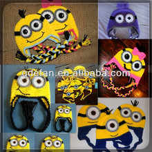 Children photo props baby crochet knitted hats child minion beanie hat with factory price