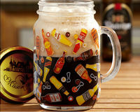 20oz Anhui factory supplier decal glass mason jars with handle draft beer 2014 football world cup beer glass with lid