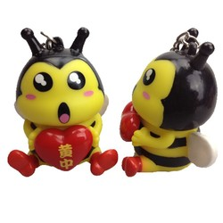 5cm bee animal heart pop out pvc keychains