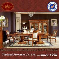 0029 Italy Classic style functional wooden dining room set heavy-duty dining table and chair furniture