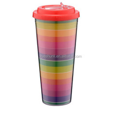 Customized double wll clear plastic cup with lid and straw manufacturers
