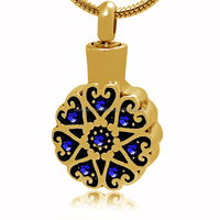 2015 Best Selling Fashion Gold Plated Stainless Steel Crystal Heart Memorial Cremation Urn Ash Keepsake Pendant Jewelry Findings