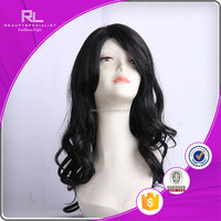 Elegant black long body wave full lace wig cheap and soft for white woman