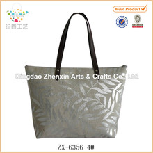 ZHENXIN HEAT STAMPING CANVAS TOTE BAG WITH PVC HANDLE FOR SUMMER
