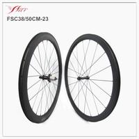 Mixed carbon wheelset 38mm front 50mm rear clincher carbon wheelset 23mm width carbon fiber road bike wheelset 3K/UD matte