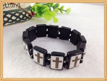 2015 Trend New Product Wood Bracelet With Cross Black Bracelets For Men Custom wholesale bracelets supplier
