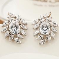 2015 Hot Sale Good Quality chaariming Fashion Zircon Stud Earrings of latest design diamond earring