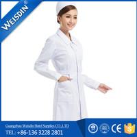 Guangzhou non-woven fabric polyester cotton female design nurse white uniform