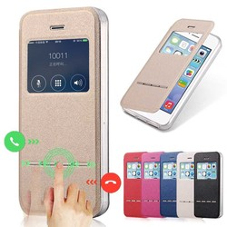 Luxury Front View Window Leather Case for iPhone 5 Phone Accessories Caso Capa For Apple iPhone 5s Flip Stand Cover