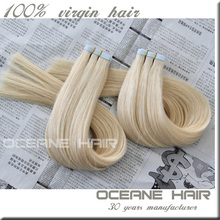 Top Grade hot sale remy tape hair extensions double sided blonde/gray/purple/blue /green tape hair