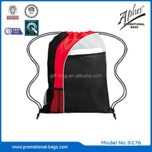 Polyester Bag Drawstring with One Front Mesh Pocket