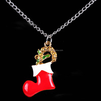 SDL006 lovely christmas ornament necklace with stockings pendant promotion trend christmas jewelyr gift